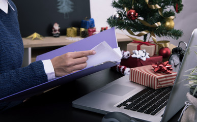 business woman working on desk office concept office christmas and happy new year.
