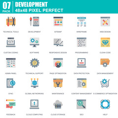 Flat web design and development icons set for website and mobile site and apps. Contains such Icons as Software, Programming, Sync. 48x48 Pixel Perfect. Editable Stroke. Vector illustration.