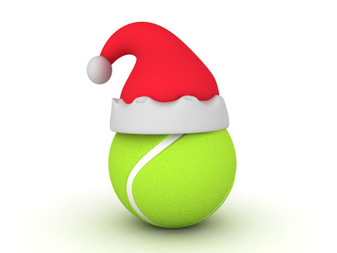 3D illustration of tennis ball with christmas hat on top of it