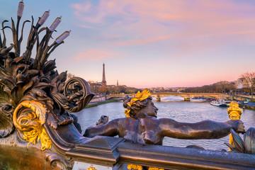 Wall Mural - The Alexander III Bridge across Seine river in Paris