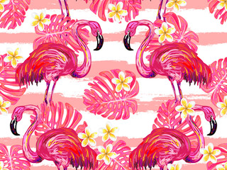 Seamless tropical summer exotic pattern with flamingo bird and monstera leaf vector background. Perfect for wallpapers, pattern fills, web page backgrounds, surface textures, textile