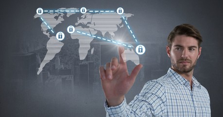 Businessman touching security lock icons connecting on map