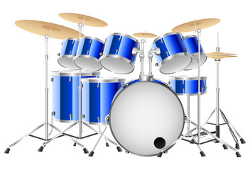 Realistic blue drum set on a white background. Vector illustration