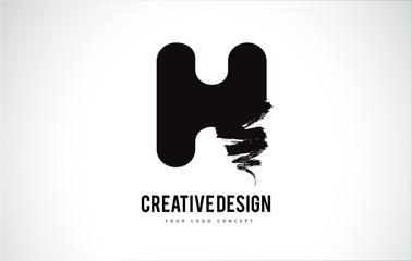 H Letter Logo Design Brush Paint Stroke. Artistic Black Paintbrush Stroke.