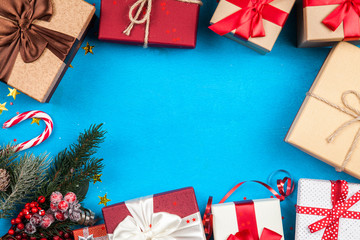 Christmas presents on blue background