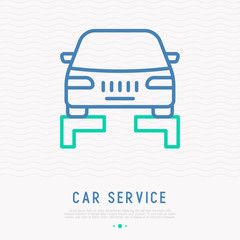 Car lifting thin line icon. Modern vector illustration.