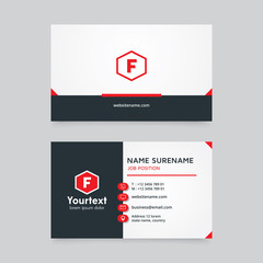 Vector modern creative and clean business card template, minimal flat design with red and white color, business card vector template