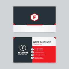Vector modern creative and clean business card template, flat design with red and black color, business card vector template