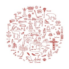 Hand drawn doodle Canada icons set Vector illustration isolated symbols collection of canadian symbols Cartoon elements: bear, map, flag, maple, beaver, deer, goose, totem pole, horse, hockey, poutine