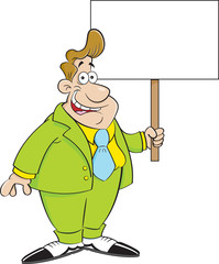 Cartoon illustration of a man in a suit holding a sign.