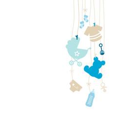Hanging Symbols Boy Beige Baby Card