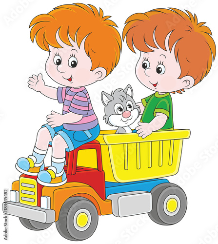 Little boy big trucks