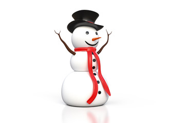 3d rendering of the snowman with black hat and red scarf isolated on white background with clipping path included.