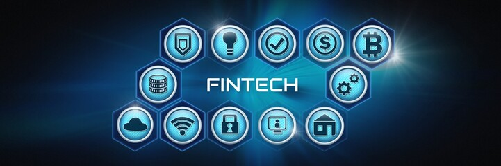 Fintech with various business icons