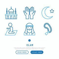 Islamic thin line icons set: mosque, carpet, rosary, prayer, moslem. Modern vector illustration, template for web page.