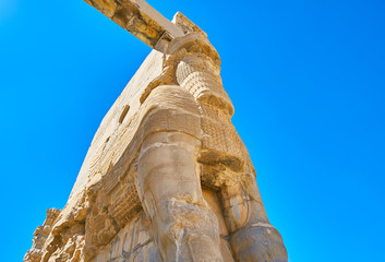 The carved Gate of Xerxes in Persepolis, Iran