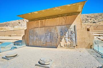 The ancient relief in Persepolis Treasury, Iran
