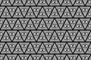 All Seeing Eye of God - black and white - vector pattern, Mason symbols, Eye of Providence,