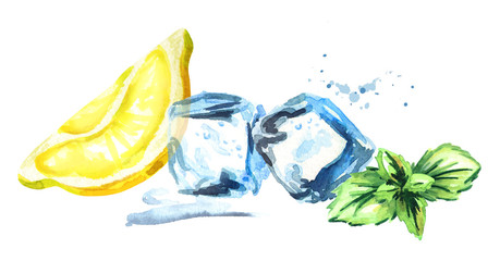 Ice cubes, lemon and mint leaves isolated on white background. Watercolor hand drawn horizontal illustration