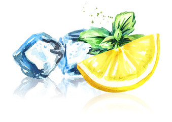 Ice cubes, lemon and mint leaves isolated on white background. Watercolor hand drawn illustration