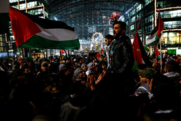 Protesters demonstrate against President Donald Trump's decision to recognise Jerusalem as Israel's capital, in Berlin