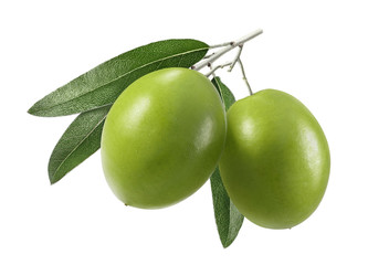 Double fresh olives isolated on white