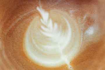 close-up picture of coffee. Latte art, rosetta, coffee cappuccino