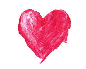 Red heart painted with paint on a white background.