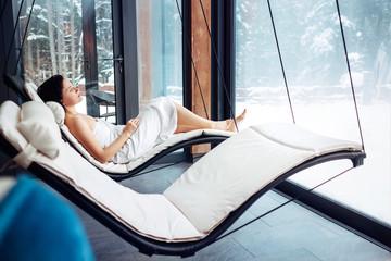 Woman relax in welness zone