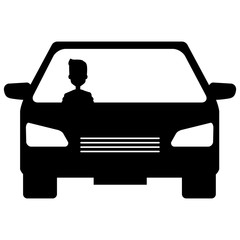 car vehicle with driver isolated icon