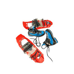 Mountaineering boots and snowshoes