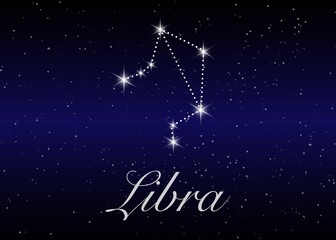 Libra zodiac constellations sign on beautiful starry sky with galaxy and space behind. Balance horoscope symbol constellation on deep cosmos background. vector