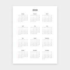 Simple clean 2018 calendar vector template