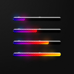Creative colorful shiny transparent striped preloader progress bar design element set on dark black background