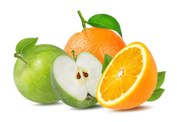Wall Mural - apple  and orange isolated on white background