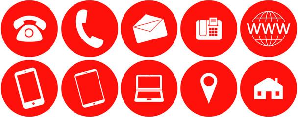 Icon Set für Webseiten und Visitenkarten mit Telefon, Hörer, E-Mail, Fax, Internet, Smartphone, Tablet, Laptop, Markierung und Adresse