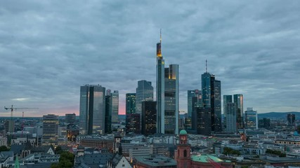 Wall Mural - Frankfurt Main downtown time lapse video from dusk to night.