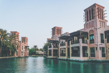 Dubai. Souk Madinat Jumeirah in Dubai in the early morning.