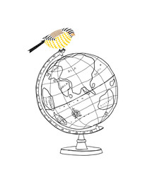cute bird and  World Globe hand drawn vector line art illustration