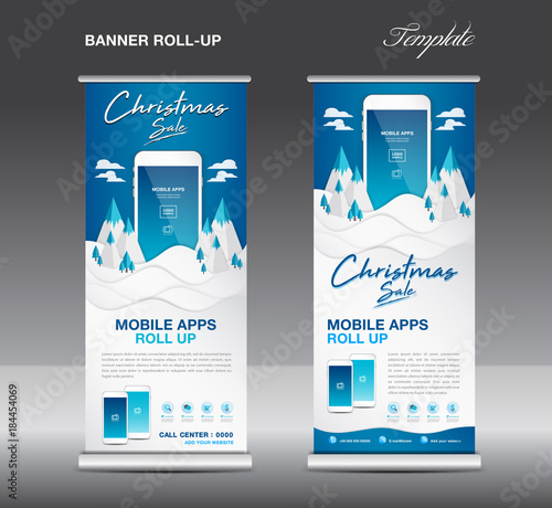 u0026quot mobile apps roll up banner template on winter landscape