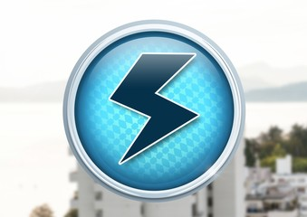 Electric lightning icon in city
