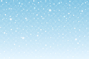 Falling snow with sparkle isolated on blue transparent background. Christmas and New Year decoration. Vector illustration
