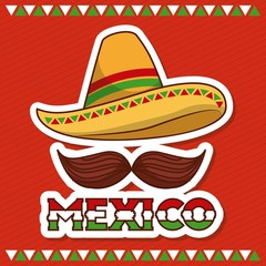 mexico hat and mustache poster invitation vector illustration