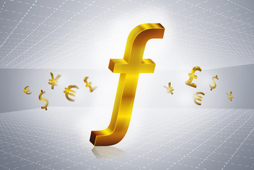 golden guilder currency symbols forex trading concept