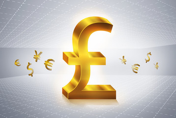 golden pound currency symbols forex trading concept