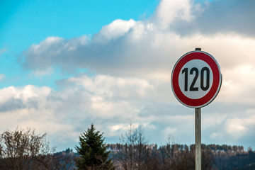 Traffic sign which means 120 kilometers per hour