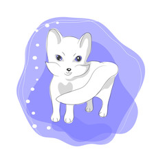 color vector illustration of cute arctic fox
