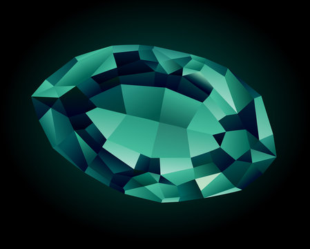 Vector shiny beautiful faceted alexandrite on dark background