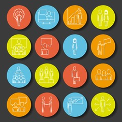 business people teamwork icon set in thin line color icons style vector illustration