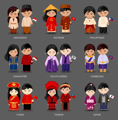 Set of asian pairs dressed in different national costumes. Woman and man with flag. Indonesia, Vietnam, the Philippines, Singapore, Korea, Cambodia, China, Taiwan, Japan. Vector illustration.